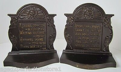 Antique Cast Iron Northwind Poems Bacon Johnsoniana Bookends bronze wash lrg B&H