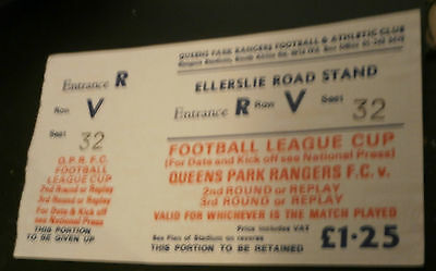 Queens Park Rangers Football League Cup Undated Match Ticket Old