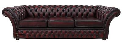 Chesterfield Balmoral 4 Seater Sofa Settee Antique Oxblood Leather 3 Cush DBB