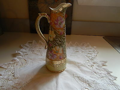 Vintage  Hand Painted Pitcher Floral
