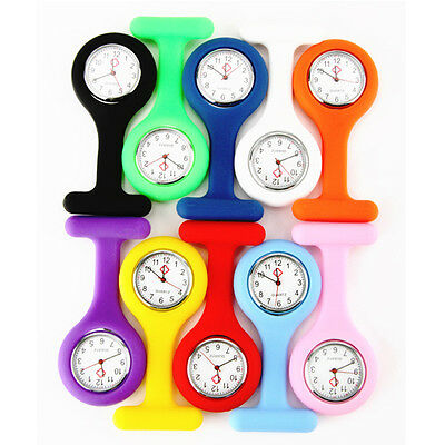 New 10 Colors Nurse Watch Silicone Pocket Brooch Portable Tunic Fob Kid
