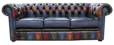 Chesterfield 3 Seater Antique Patchwork Antique Leather Sofa Settee