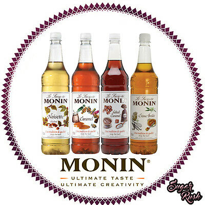 Monin Coffee Syrups - 4 x 1 Litre Bottles CASE DISCOUNT- AS USED BY COSTA COFFEE