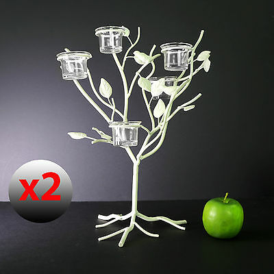 Qty 2  Blooma Sherwood Tree Style Metal Candle Stand Tea Light Holder Home