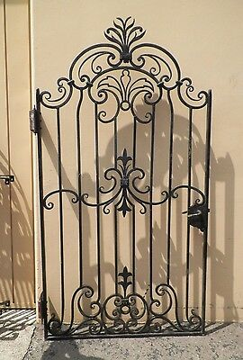BEAUTIFUL EARLY 30's HAND FORGED BLACK IRON GATE ARCHITECTURAL SALVAGE ORNATE