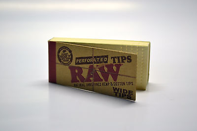 RAW Perforated Wide Rolling Filter Tips Roach 50/Pack Natural Hemp & Cotton