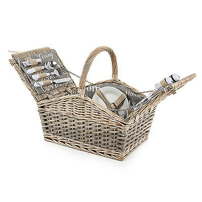 Coast & Country 4 Person Willow Wicker Picnic Basket Summer Outdoor Hamper Set
