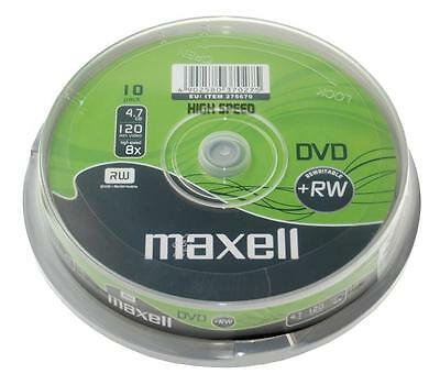 Maxell DVD+RW 4.7GB 4x Speed 120min Rewritable DVD Disc Spindle Pack 10 (275670)
