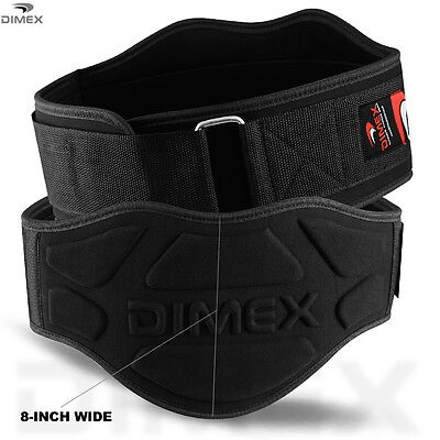 """Weight Lifting Belts Fitness Gym Workout Neoprene 8"""" Wide Support Brace Black"""