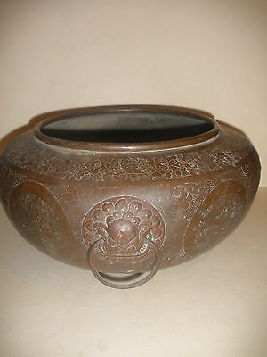 Nice Large Antique Chinese Bronze Bowl Decorated People And Lion Heads Handle