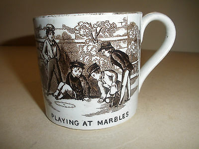 ANTIQUE 1800`s STAFFORDSHIRE TRANSFER CHILD CUP PLAYING MARBLES BLIND MAN`S BUFF