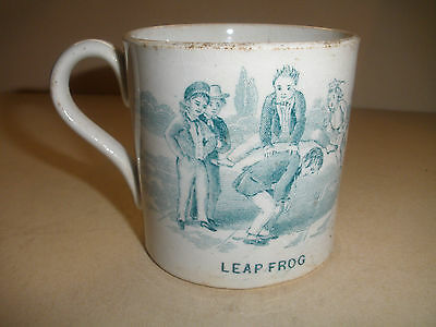 ANTIQUE 1800`s STAFFORDSHIRE TRANSFER CHILD CUP LEAP FROG GAME BOY PLAYFUL TRAY