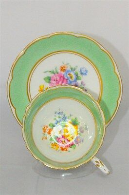 Staffordshire England Green With  Floral Teacup & Saucer (Tea Cup)