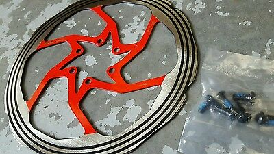 Raleigh XLC Disc Brake Rotor 160 180 203mm (NEW) 6 Bolt Int Std (inc Bolts) RED