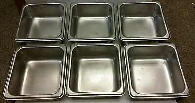 "Stainless Steel 1/6th Size 2.5"" Deep Steam Table Pan - Lot of 6"