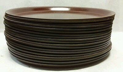 """Vollrath Round Reddish-Brown Laminated 11"""" Serving Tray - Lot of 19"""