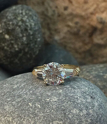 14K 3 Ct Round Baguette Solid 14K Yellow Gold Engagement Wedding Ring Band