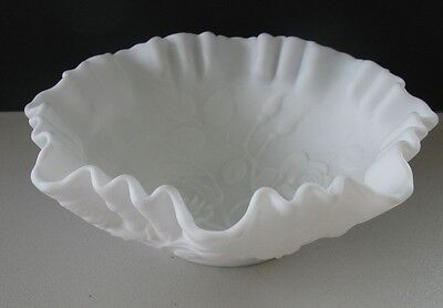 Vintage Imperial Doeskin White Milk Glass Embossed Open Rose Bowl /LG Candy Dish