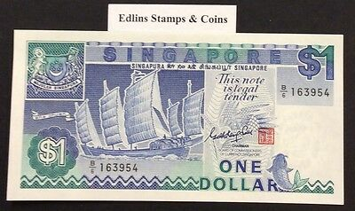 1987 $1 Singapore Banknote - Uncirculated - Pick 18A - B/6 163954
