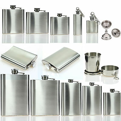 4/6/8/10/18oz Stainless Steel Hip Liquor Whiskey Alcohol Flasks Funnel Cup Box