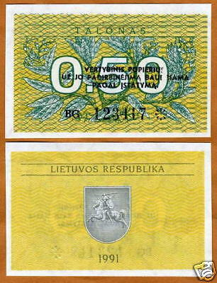 Lithuania, 0.50 Talonas, 1991, First EX-USSR, P-31 (31b), UNC