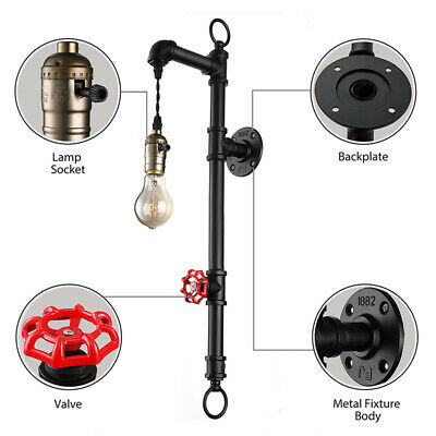 Industrial Retro Pipe Water Pipe Wall Lamp Wall Sconce Valve Antique Wall Mount