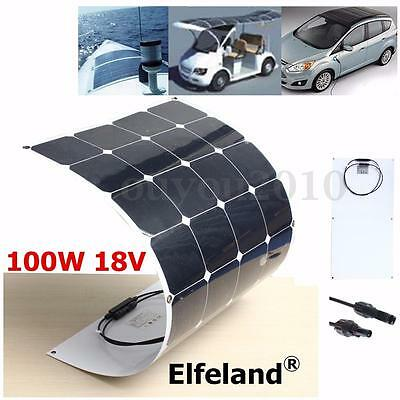 Elfeland 100W 18V Semi Flexible Cell Solar Panel Battery For RV Boat Camping