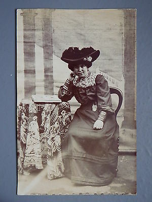 R&L Postcard: Real Photo of Edwardian Lady in Period Fashion Dress Hat