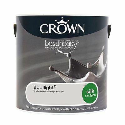Crown Breatheasy Household Decorating Spotlight Grey Silk Emulsion Paint 2.5L