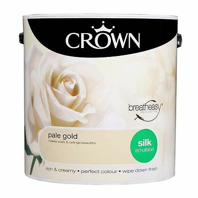 Crown Breatheasy Household Decorating Pale Gold Silk Emulsion Paint 2.5L