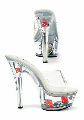 0fb38a5b6c0d Ellie Shoes 6 Inch Heel Clear Mule Women s Size Shoe With Dice And Poker  Chips