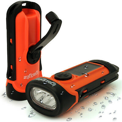 3 LED Solar & Hand Crank Rechargeable Torch 5m Waterproof Camping Flashlight