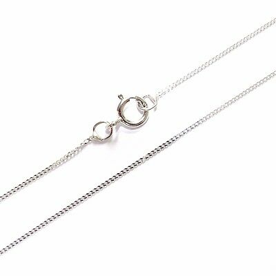 "9ct White Gold Fine Lightweight Diamond Cut Curb Chain Necklace 16"" 18"" 20"""