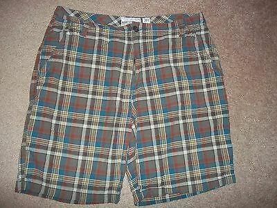 Aeropostale Shorts Size 38 Brown Blue Red Plaid Waist 38