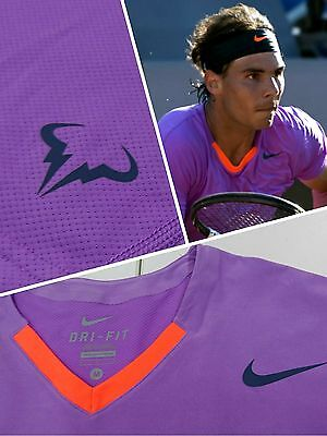 =Nike=Rafael Nadal Premier Tennis Crew Top Shirt=523209=Purple Orange=M=