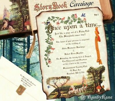 qty 100 Storybook Scroll Wedding Invitations Carriage FairyTale Invites and rsvp