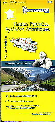Michelin Map 342 Hautes pyrenees Atlantiques France Local Road and Tourist