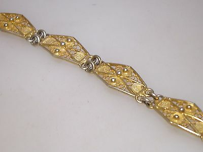 Beautiful Vintage 800 Silver With Rich Gold Washed Filigree Bracelet!