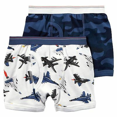 New Carter's 2 Pack Boy Boxer Briefs Underwear size 2 3 4 5 6 7 8 NWT Jets Camo
