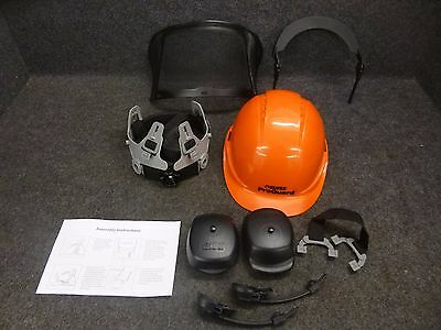 Elvex Loggers Safety Helmet w/ Face Mask And Ear Muffs