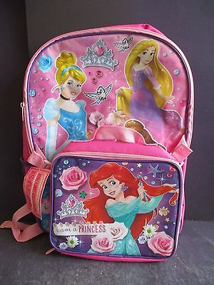 New Disney Princess Backpack & Lunchbox Set Rapunzel Ariel Cinderella Bell