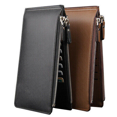 Men's Long PU Leather Wallet Pockets Money Purse ID Credit Card Clutch Bifold