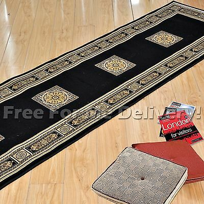 CAEN CLASSIC BLACK MEDALLION TRADITIONAL RUG RUNNER 80x300cm **FREE DELIVERY**