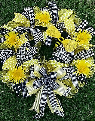 24x28  Deco Mesh and Black & Yellow Ribbon Wreath with Bumble Bee and Flowers