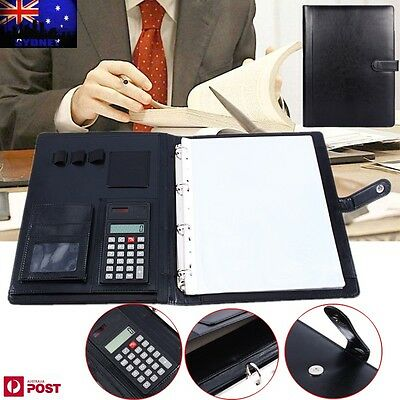 A4 Executive Conference Folder Portfolio PU Leather Document Holder & Calculator