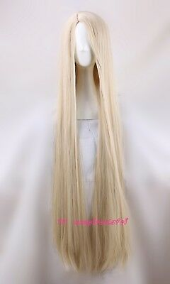 Movie Tangled Rapunzel 120cm long blonde cosplay straight full hair wig