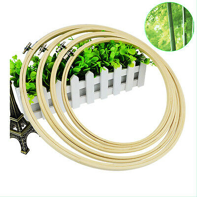 New Bamboo Wooden Cross Stitch Machine Embroidery Hoop Ring Sewing 4 Sizes