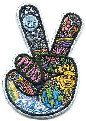 PEACE SIGN FINGERS dan morris EMBROIDERED IRON-ON PATCH - ph527 sun earth moon