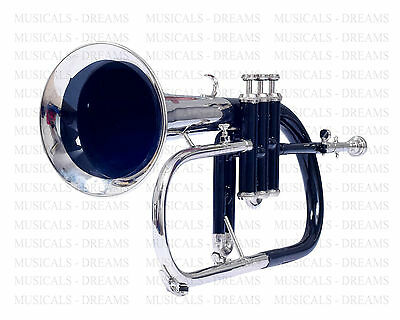 FLUGEL HORN Bb PITCH NICELY TUNED FREE HARD CASE + BLACKCOLORED+NICKEL PLATED+MP