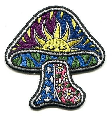 "TRIPPY 'SHROOM mushroom sun daisies stars IRON-ON PATCH 3 1/4"" - Dan Morris art"